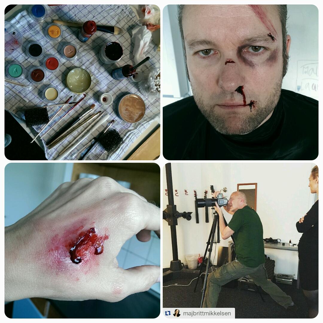 makeup artist på fotoshoot med blod og sår